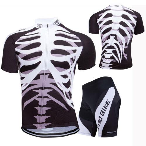 Herren Atmungsaktiv Radfahren Radtrikot Skelett Fahrradtrikot Radlerhose Kurzarm
