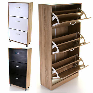 Details About 3 Drawer Shoe Cabinet Rack Storage Wooden Cupboard Footwear Stand Unit Colours