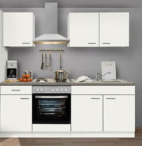 Küchenzeile FAVORIT 13 in Weiß Küche 210 cm Küchenblock ohne E ...