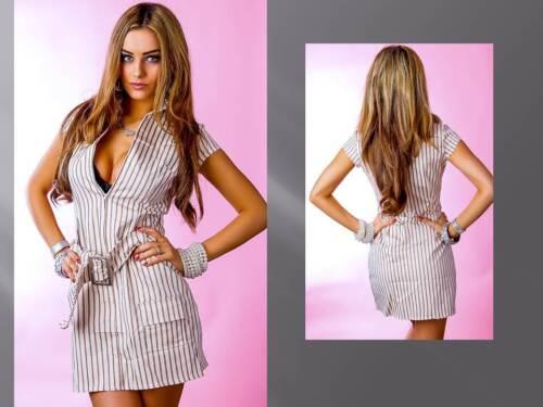 Jeanskleid Kleid Minikleid Streifen braun weiß Gürtel 34 36 38  /% Schnäppchen /%
