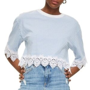 TOPSHOP-Blue-and-White-Stripe-Lace-Hem-Crop-Shirt-NWT-US-Size-6-UK-Size-10