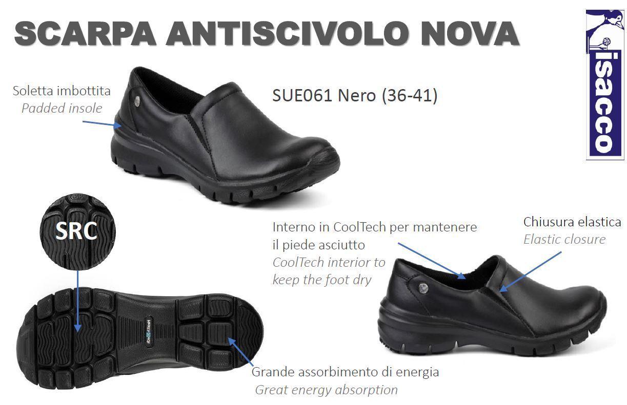SCARPA ANTISCIVOLO mujer SENZA LACCI CUOCA CHEF CHEF CHEF NOVA negro ISACCO zapatos WOMAN  Centro comercial profesional integrado en línea.