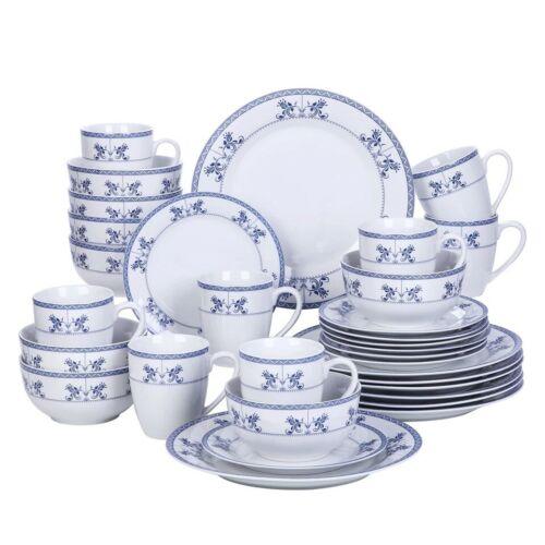 Veweet Delia 32 Pièce Céramique Porcelaine Dîner Vaisselle Ensemble Plaque Bols Bleu