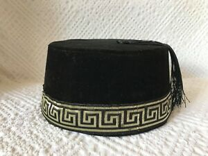 Image is loading BLACK-ORIENTAL-EMBROIDERED-FEZ-TURKISH-FES-HANDMADE-CAP- 17850671342b