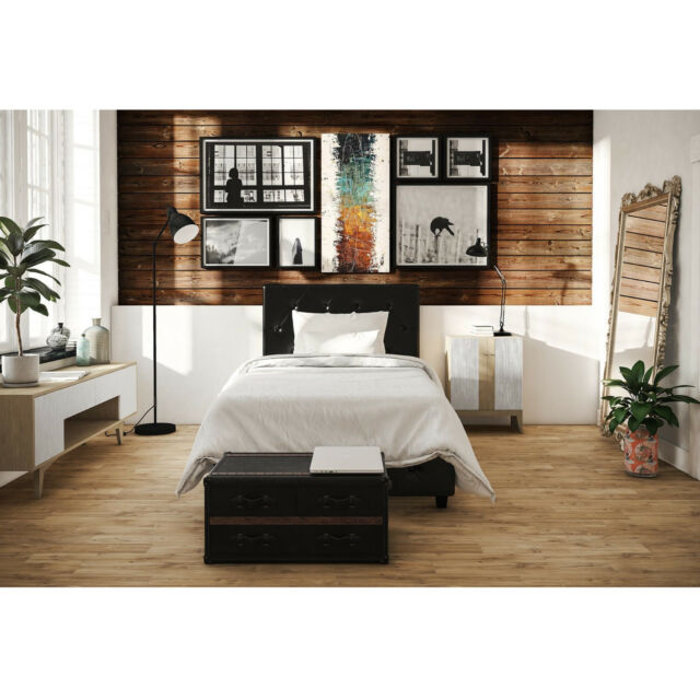 3 Piece Twin Size Bedroom Set Furniture Modern Platform Bed 2 ...