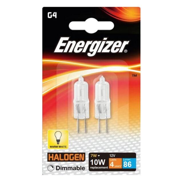 2 x Energizer G4 Eco 10W Halogen Capsule Bulb 86 Lumens 12V Lamp Warm White