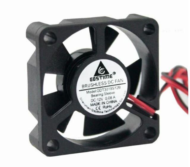 2pcs 30mm 30*10mm 3010 2PIN 12V Mini Brushless DC Cooling Fan Heatsink 3010S
