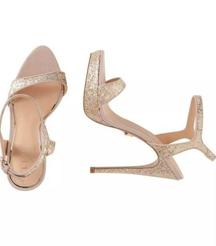 BNWT Lipsy Nude Barely There Glitter Platform High Heel Sandals In Size UK 7