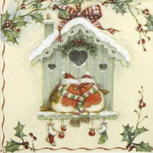 4x Paper Napkins for Decoupage Craft and Party - Happy Christmas Birdhouse