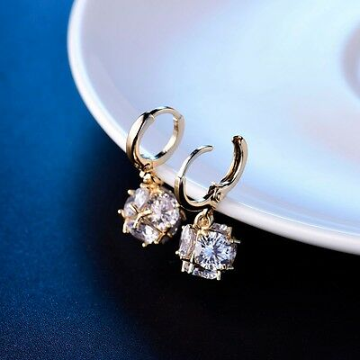 White Sapphire Crystal Dangle Earring Fashion Yellow Gold Filled Womens Jewelry