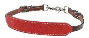 Showman-RED-Glitter-Overlay-MEDIUM-OIL-Leather-Wither-Strap-NEW-HORSE-TACK