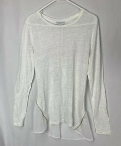katherine Barclay montreal 100 % linen Long Sleeve White Color Top Size Large
