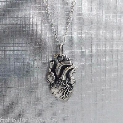 Anatomical Heart Charm Necklace - 925 Sterling Silver - Love Human Heart NEW