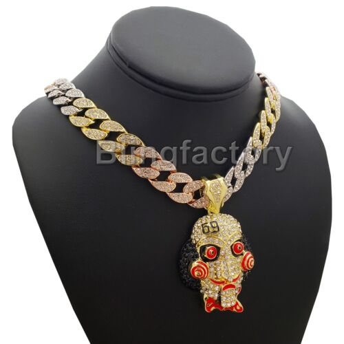"""Hip Hop Jigsaw pendant /& 18/"""" Iced out Multi Colored Cuban Choker Chain Necklace"""