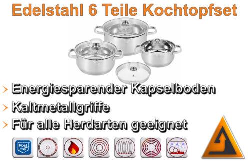 6 tlg Kochtopfset Induktion Edelstahl Topfset Kochtopf Suppentopf Topf CS