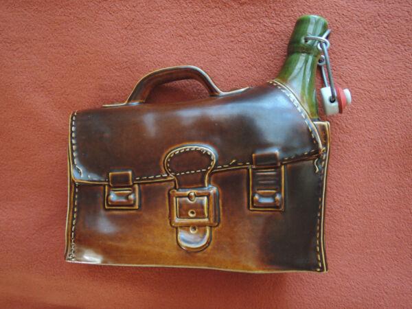 Ehrlich Keramik, Skulptur, Deko-flasche Als Aktentasche Rarität Braun Und Grün