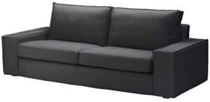 Ikea-Kivik-3-Seat-Sofa-Slipcover-Cover-Only-Dansbo-Dark-Gray-Cotton-Polyester