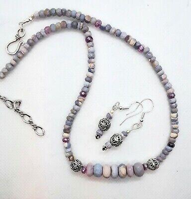 Black tourmaline silverite and sterling silver necklace apatite