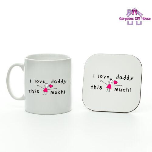 Cadeau pour Papa La Fête des Pères Cadeau I Love Daddy autant fille Tasse Et Coaster Set