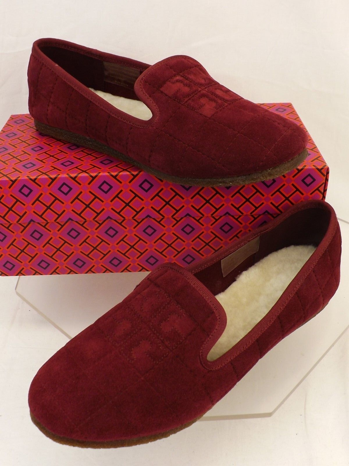 NIB TORY BURCH COWLEY PORT ROYAL QUILTED SUEDE REVA LAMB FUR SMOKING SLIPPERS 8