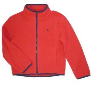 Details zu Ralph Lauren Kinder Jungen Jacke Fleece Rot Polo Reiter Logo klassisch Boy 116