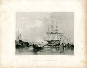 Gostport-Flag-Ship-Saluting-Engraved-By-W-Finden-Of-A-Drawing-Of-E-W-Cooke