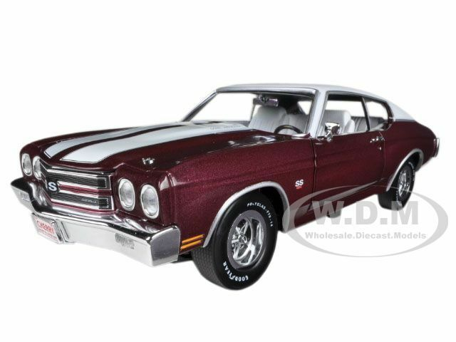 1970 CHEVROLET CHEVELLE SS 454 BLACK CHERRY 1/18 LTD 1500PC AUTOWORLD AMM1011