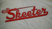 Retro Skeeter Gray Tee-shirt With Skeeter Logo On Front In Red