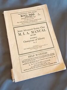 MIA Manual Book LDS Mormon 1927 Church Youth Study Champions of Liberty