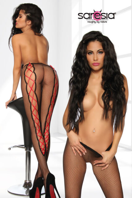 Sexy Netz Strumpfhose Schnürung Tights Reizwäsche Pantyhose Dessous schwarz rot