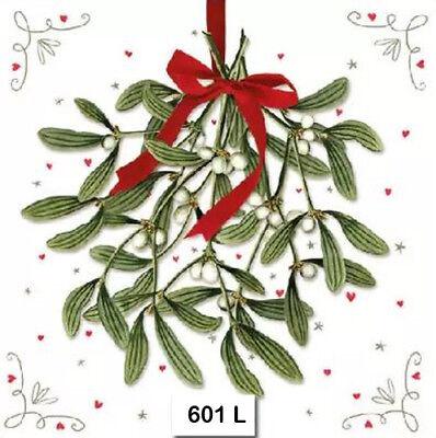 KISS CHRISTMAS MISTLETOE 601 TWO Individual Paper Lunch Decoupage Napkins