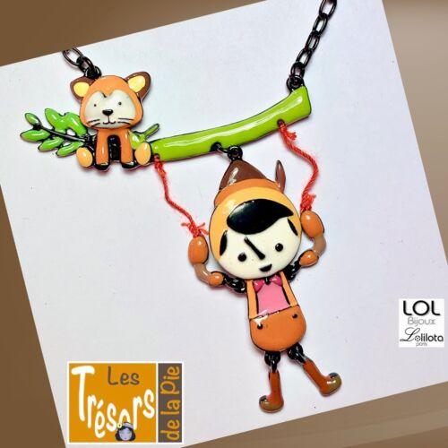 Collier LOL Bijoux Lolilota Métal émaillé Collier Pinocchio marron chat