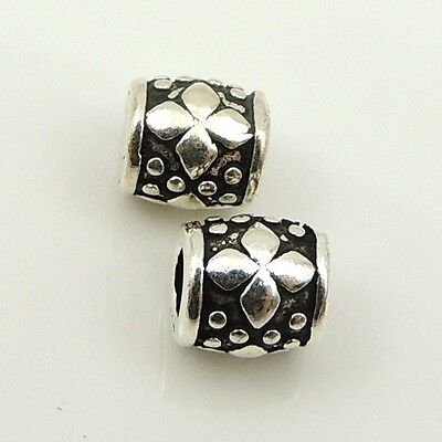 4 Pcs Sterling Silver Beads 925 Stamp 6x6mm Vintage Celtic Barrel WSP146