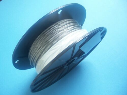 "304 Stainless Steel Wire Rope Cable, 564"", 7x7, 250 ft Reel, Made in Korea."