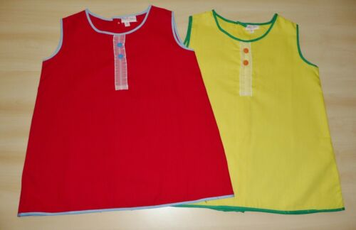 Pack de 2 vintage années 1970 neufs Filles Rouge /& Jaune A-ligne Robes Âge 2 ans
