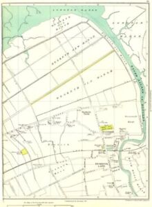 Antiques Art Prints Lancs.hesketh Lane Old Marsh,new,becconsall,much Hoole,river Asland 1935 Map