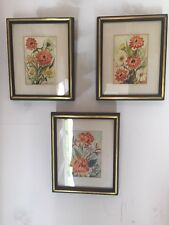Set Of Three flower watercolor paintings signed P Bernson