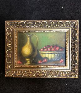 Vintage Original Framed Oil Painting On Wood Panel Vase & Strawberries Signed