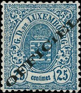 Lussemburgo LUXEMBOURG 1875 STEMMA 25c. officiel GOMMA mi:16ia MH * kw:18 esaminato €