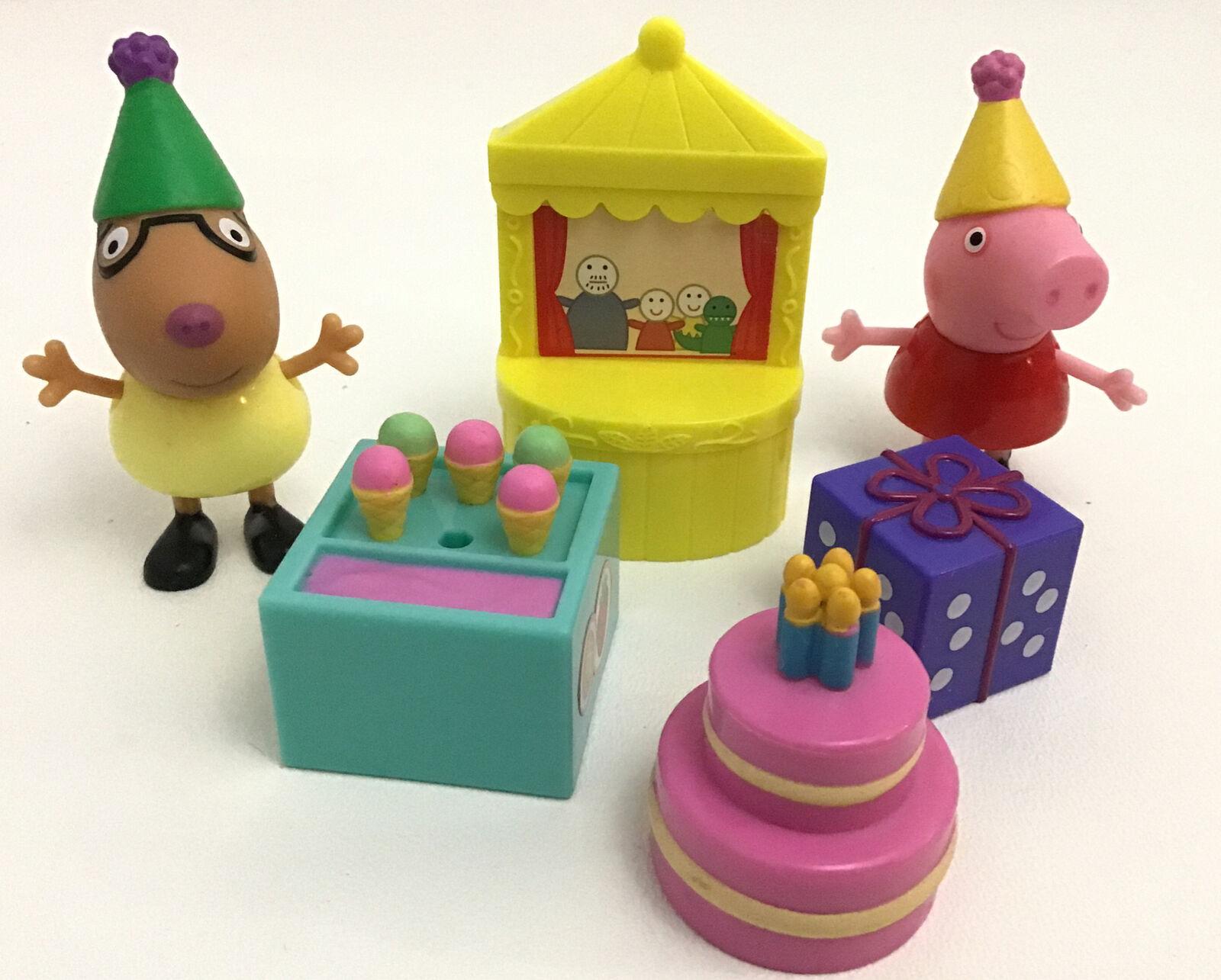 Peppa pig car and cash register shopping figuirnes cake topper