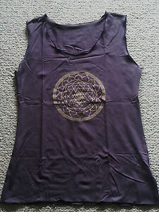 NEW-Yoga-gym-exercise-stretch-lycra-top-great-quality-lovely-colours-Om-NEW-M