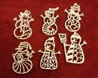 Set Of 6 Filigree Snowman Ornaments - Handmade- Chrismas Ornaments