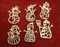 Set Of 6 Filigree Snowman Ornaments - Handmade- Chrismas Ornaments