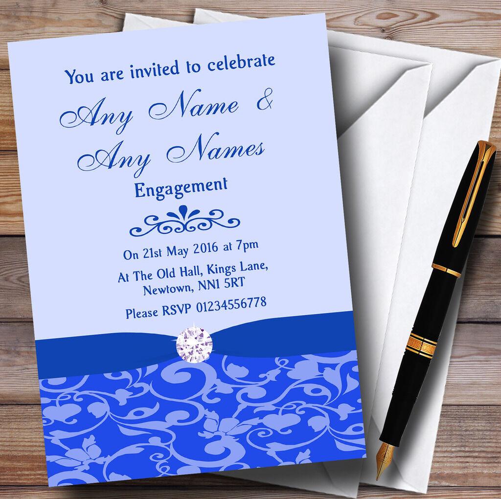 Azul Cobalto Floral Diamante Personalizado Fiesta de Compromiso Invitaciones