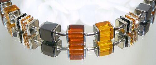 3er Schmuckset Würfel Cube Glas Hämatit topas honig cognac braun hellbraun 092j