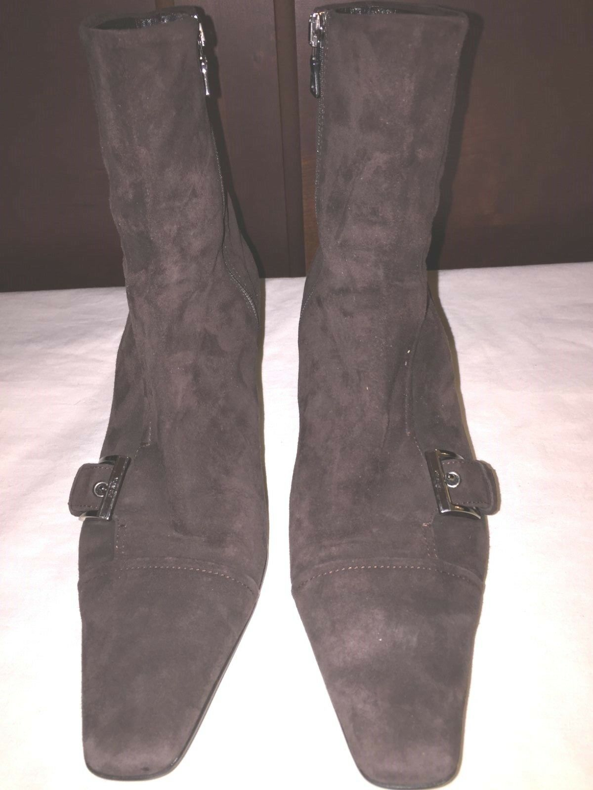 PRADA Suede Braun Suede PRADA Ankle Zip Stiefel Sz  Euro 37.5 / US 6.5 - 7 9fa7b9