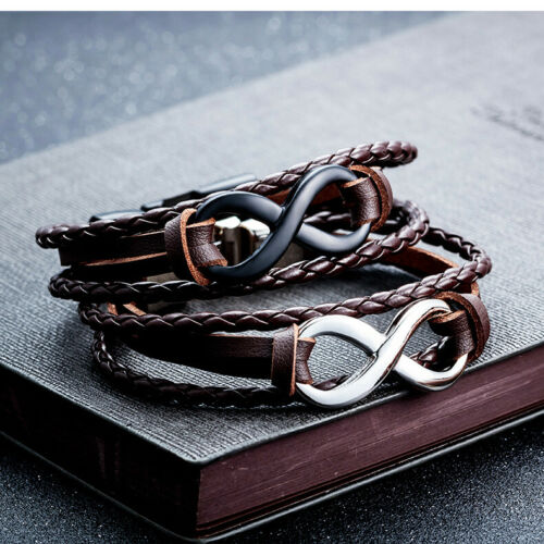 Leather Metal Men /& Girl Infinity Friendship Love Braided Bracelet Wristband UK