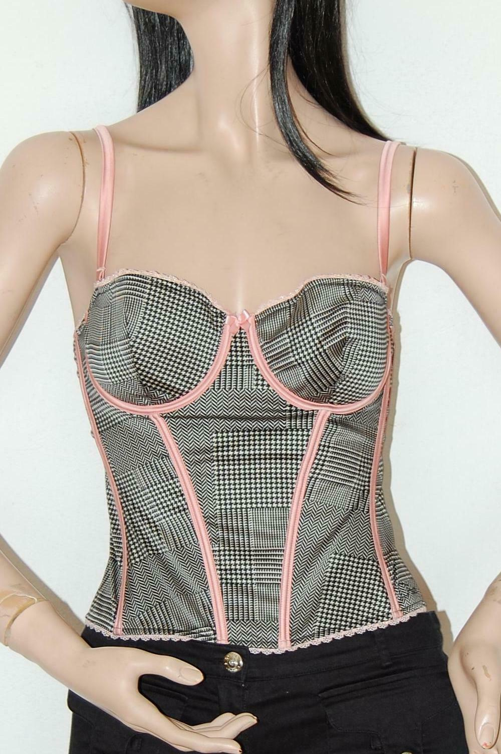 CHRISTIAN DIOR VTG Houndstooth Bustier Corset Top 36B