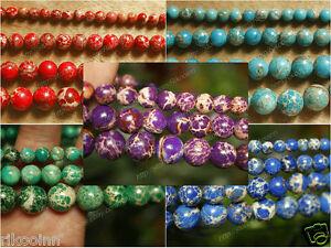 Natural-Sea-Sediment-Jasper-Gemstone-Round-Beads-15-039-039-Strand-6mm-8mm-10mm-12mm