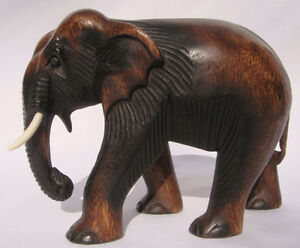Hand-Carved-Thai-Wooden-Elephant-Brand-New-20cm-Size-Fair-Trade